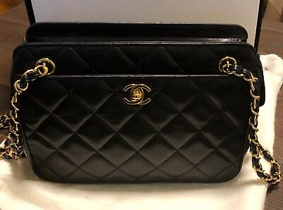 ce73010f7824a Chanel Black Quilted Lambskin Vintage Classic Camera Bag with Box (1996)