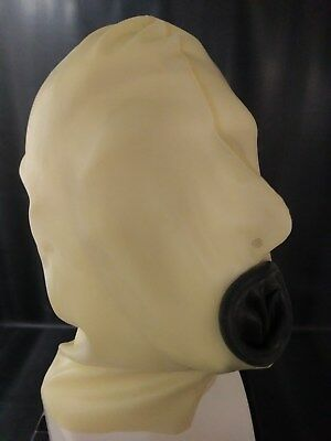 < LATEVERTRIEB >  Latex-Maske  natur mit black K. in Gr. XL