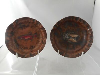 SIGNED Pair of Unusual Antique Enamel Decorated Dishes & Cloisonne Decoration