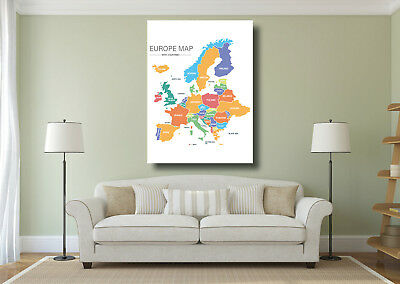 Map of Europe Countries Large Poster Wall Art Print - A0 A1 A2 A3 Maxi
