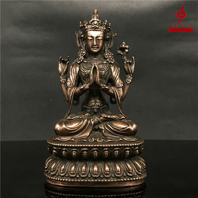 "7"" China Tibet old antique copper gilt Buddhism Four arm Guanyin Buddha statue"