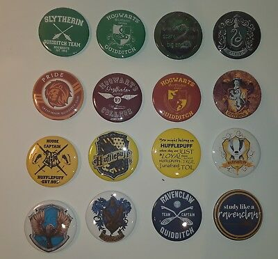 """16 Harry Potter House RAVENCLAW GRYFFINDOR SLYTHERIN HUFFLEPUFF 2"""" Buttons New!"""