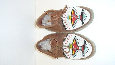VINTAGE LADIES BEADED GUILMOX MOCCASINS KACHINA LT BROWN SUEDE 1950s? SZ 6-7?