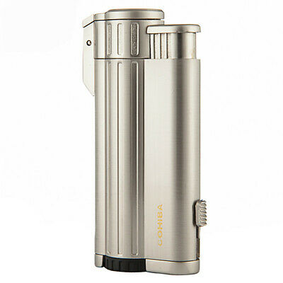 COHIBA Metal Windproof Refillable Cigarette Jet 3 Torch Flame Cigar Lighters