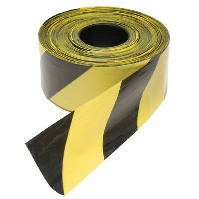 Professional Hazard Warning Barrier Tape Yellow/Black Non Adhesive 70mm x 500m