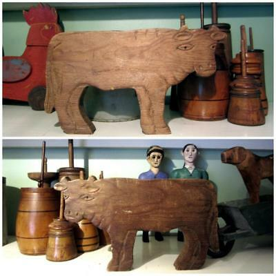 Antique CARVED WOOD COW FOLK ART Toy/ Doll/ Figure/ Outsider Art/ Anonymous aafa