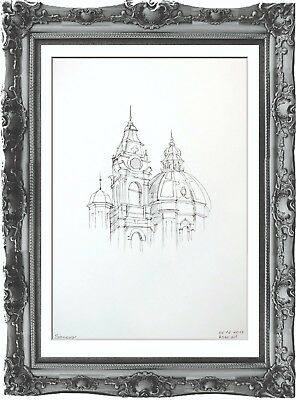 original drawing architectural painting 49GK art ink signed A3