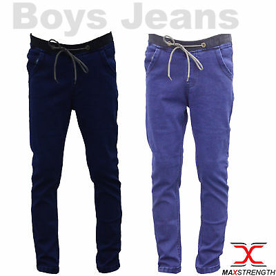 Denim Boys Kids Stretch Jeans Ribbed Skinny School Pants Trousers 24-28 Inches