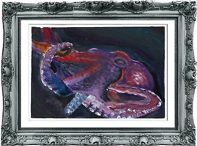 original drawing art octopus 21SV gouache A3