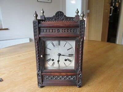 Vintage German Chiming Ting Tang Oak Turret Mantel Clock