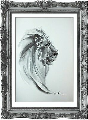 original painting art lion 206HI watercolor panthère A3