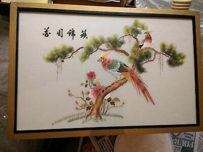 Chinese antique silk hand embroidered picture
