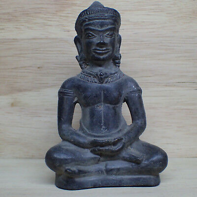 Antique Khmer Statue Rare, Lopburi 12th/13th Style Angkor Bayon Crowned Buddha