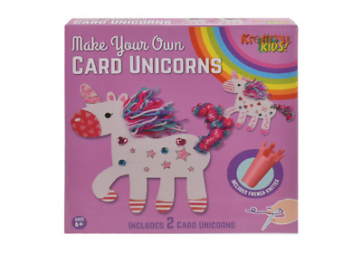 Make Your Own 2Pc Card Unicorns In Colour Box -Ty9748 Glitter Knitting Art Craft