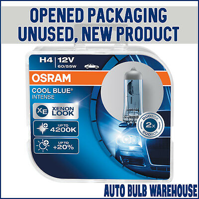 OSRAM Cool Blue Intense H4 Headlight Bulbs Twin (Opened Packaging New Condition)