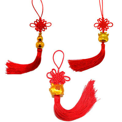 Feng shui Chinese Tassel Lucky Knot New Year Gold Pig Good Luck Hanging Decor