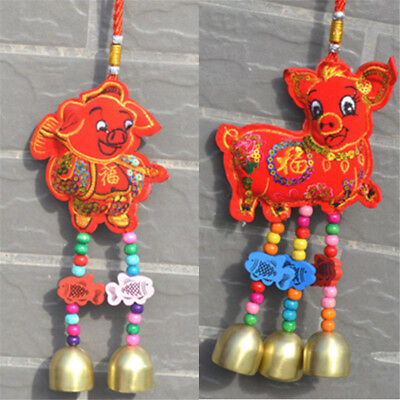 Chinese New Year Pig Piggy Decor Lucky Bless Gold Rich Home Car Hanging Ornament