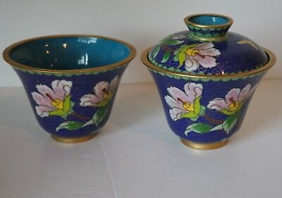 VTG Chinese Canton Enamel Cloisonne Covered Tea Bowl Cup and Lid Set