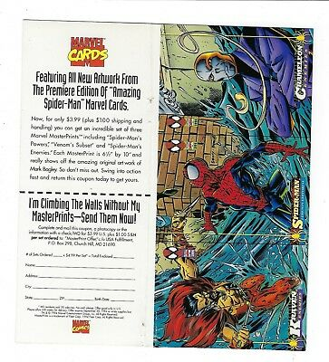 1994 Spider Man Marvel trading cards 1st Edition uncut 3 card PROMO sheet.KRAVEN