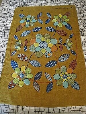 Mcm Hand Printed 1950's Real Linen Vintage Centerpiece Tablecloth By Chris Bash