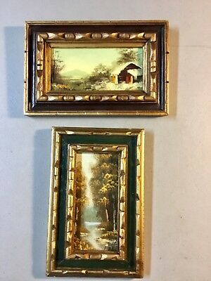 2 Vintage Original Mini Landscapes Oil Paintings on Boards, SIGNED, FRAMED 6 x 9