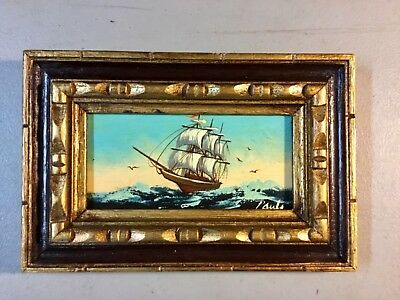 Vintage Original Mini Oil Painting on Board-NAUTICAL CLIPPER SHIP-Signed/Framed