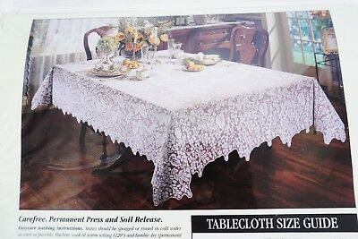 VTG Quaker Lace OBLONG 54 x 70 Ivory/Cream Tablecloth IVY - NOS in Package!