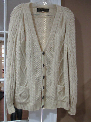 VINTAGE HAND KNIT IRISH FISHERMANS SWEATER CARDIGAN sz 44 wood buttons