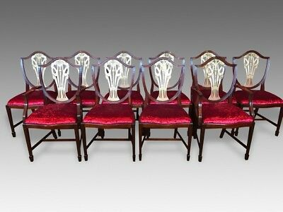 Exquisite very rare set of 10 gold Prince of Wales style chairs French polished
