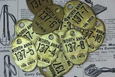 Vintage Lot 10 Industrial Tool Checks Tags Number Tag Metal Antique Brass Fobs