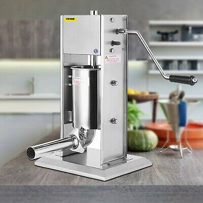 3L Sausage Stuffer Filler Maker Meat Machine Slow/Fast Vertical 5 Stuffing Tubes