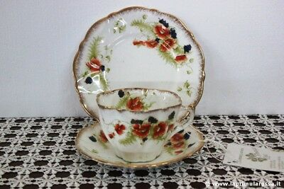 Antica Tazza Da Te In Porcellana + Piattino Dolce Trio Inglese Wellington China