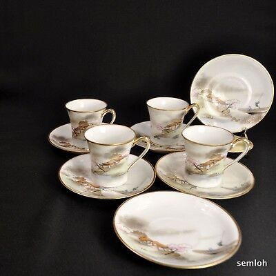 Nippon M-in-Wreath 4 Chocolate Cups & 6 Saucers Pink Tree Boat House Lake w/Gold