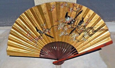 "Large Chinese Gold Tint Paper Hanging Wall Fan 40"" x 65"""