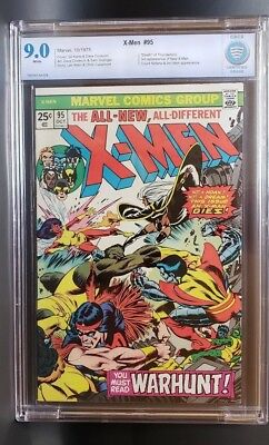 "X-Men #95    CBCS 9.0  (like CGC) - White pages - ""Death"" of Thunderbird"