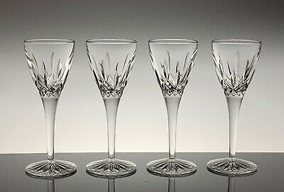 """Waterford Crystal Cordial Glasses Lismore 2 Ounce 6.5"""" Tall Set of 4 Excellent!!"""