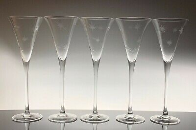 Waterford Marquis Crystal Champagne Star Toasting Flutes Set of 5 Excellent