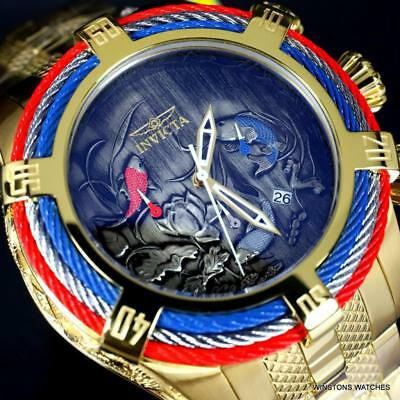 Invicta Bolt Tri Cable Red Blue Koi 54mm Gold Plated Steel Chronograph Watch New