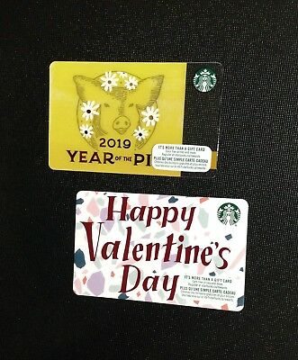 "STARBUCKS "" I "" Marker ( RECYCLED PAPER )& PIG  GIFT CARD - LOT OF 2 PCS. - NEW"