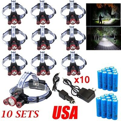 120000Lumen 3x T6 LED Headlamp Headlight Flashlight Head Torch Light Charger USA