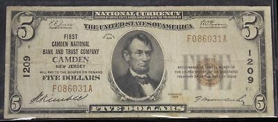 1929 Fine Five Dollar Charter 1209 First Camden National Bank & Trust Company