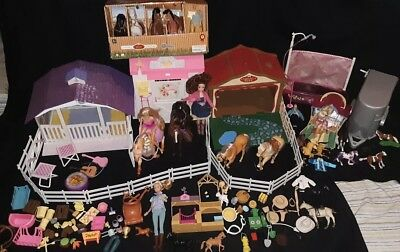 Vintage And New Age Barbie And Breyer Barn Stables, Dolls, Horses,...