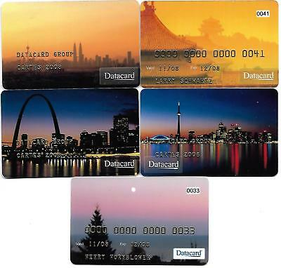 @+ lot de 5 cartes demonstration DATACARD différentes