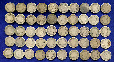 Barber Silver US Dimes - lot of 50