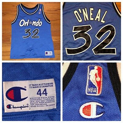 aabe76aa4ca Vtg Champion Shaquille O'Neal Orlando Magic NBA Blue Men's Jersey Size 44
