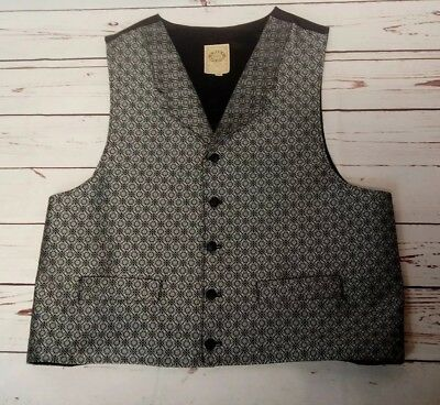 Wah Maker Black And Silver Western Vest Mens Size XL