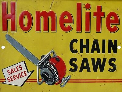 "Vintage Reproduction Homelite Chain Saw 9"" x 12"" Metal Tin Aluminum Sign"