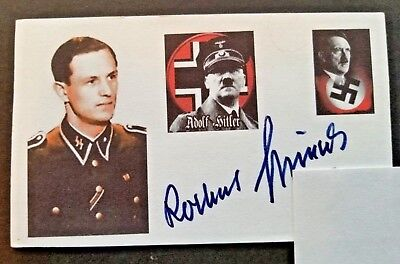 ROCHUS MISCH WWII GERMANY PRESIDENTIAL BODYGUARD Autographed 3x5 Index Card