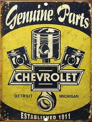 "Vintage Chevrolet Genuine Parts Reproduction 9"" x 12"" Metal Tin Aluminum Sign"