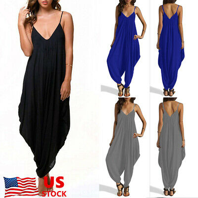 67f9eccd833 US Women Strappy Loose Jumpsuit Rompers Casual Baggy V Neck Harem Pants  Playsuit